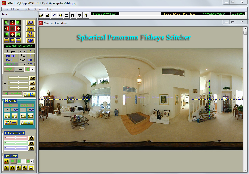 Spherical Panorama 3/2-Fisheye Stitcher